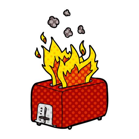 cartoon brandende broodrooster Vector illustratie.