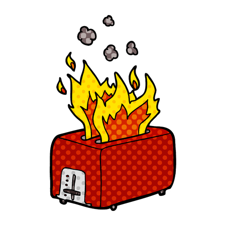 cartoon burning toaster Vector illustration. Çizim