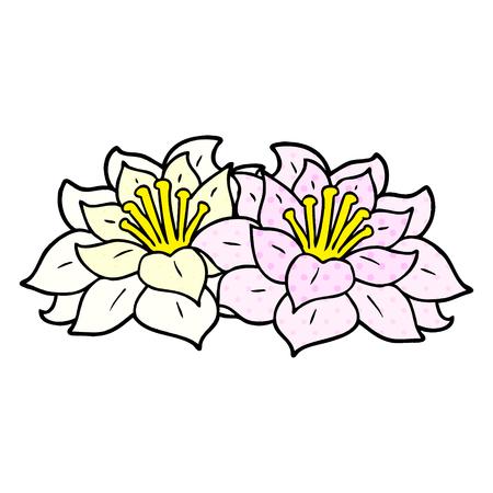 cartoon flowers Vector illustration.  イラスト・ベクター素材