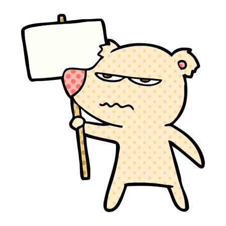 angry bear cartoon holding placard Vector illustration. Illustration
