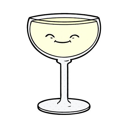 cartoon glass of wine Vector illustration. Illustration