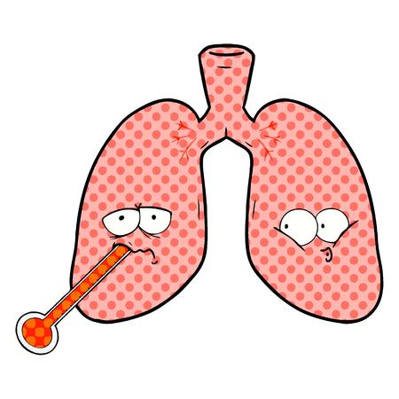Illustratie van beeldverhaal de ongezonde longen op witte achtergrond. Stock Illustratie