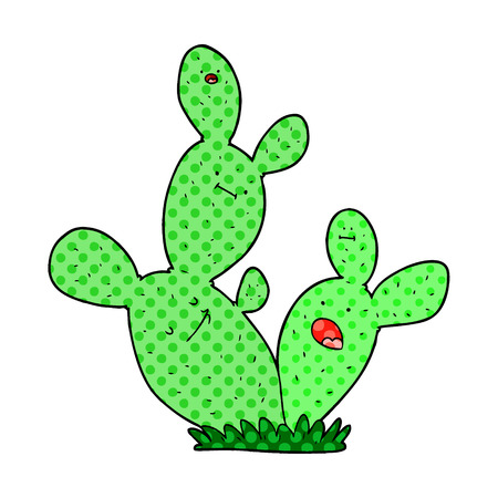 Cute cartoon cactus illustration on white background.
