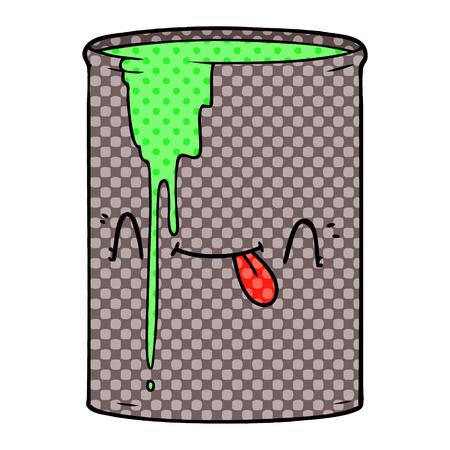 Cartoon toxic waste illustration on white background.