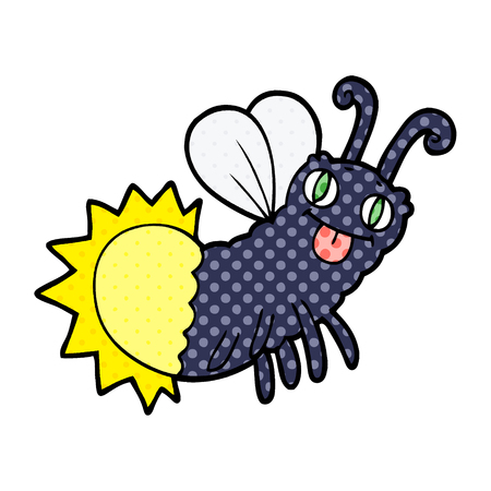 Cartoon funny firefly illustration on white background.
