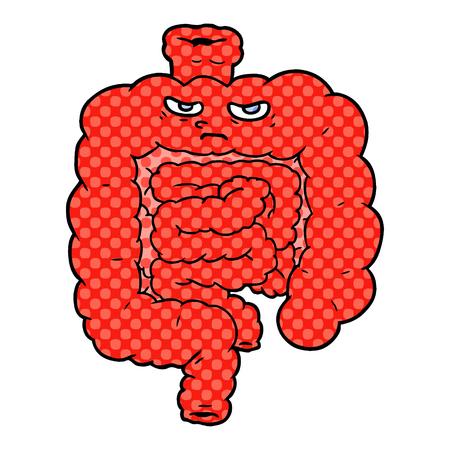 白い背景に漫画の腸のイラスト。