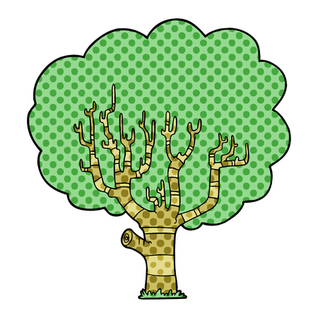 Cartoon tree illustration on white background. Çizim