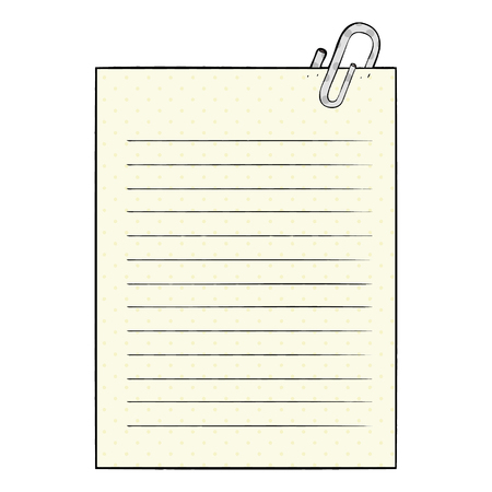 Cartoon lined paper with paperclip illustration on white background.