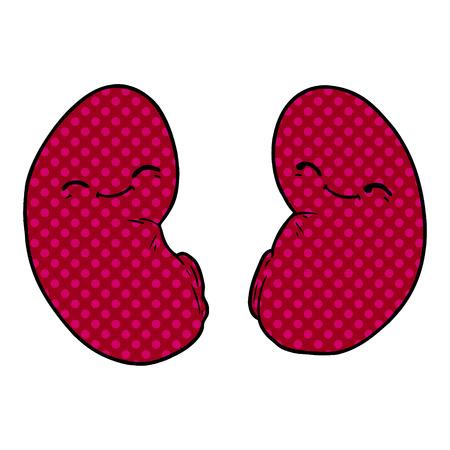 Cartoon happy kidneys illustration on white background. Иллюстрация