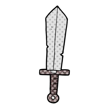 Cartoon old sword illustration on white background.