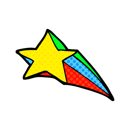 Shooting star decorative cartoon illustration on white background. Ilustração