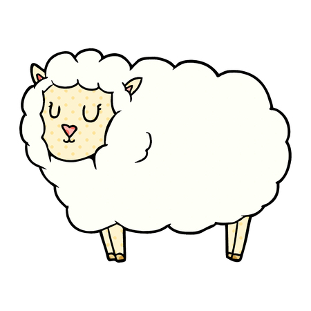 Cartoon sheep illustration on white background. 일러스트