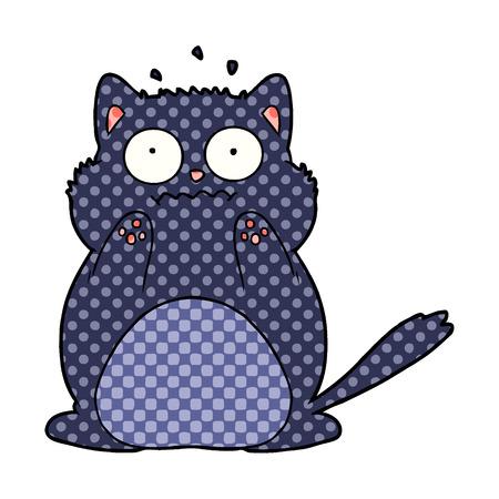 Cartoon worried cat illustration on white background. 向量圖像