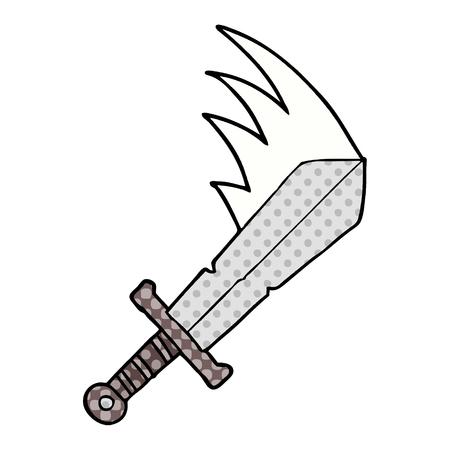 Cartoon swinging sword illustration on white background.