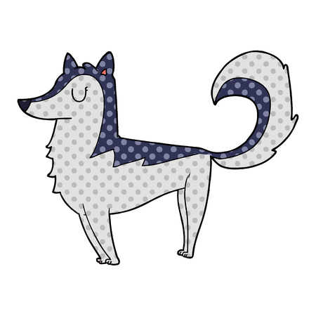 Cartoon husky illustration on white background.