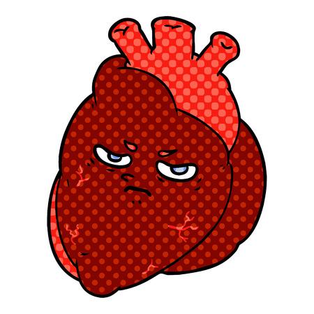 Cartoon heart illustration on white background.