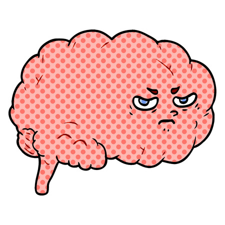Cartoon angry brain illustration on white background. Ilustração