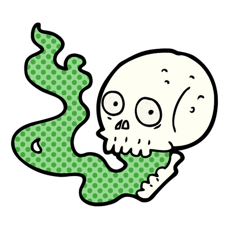 Cartoon haunted skull illustration on white background.