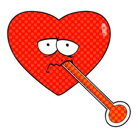 Cartoon love sick heart illustration on white background.