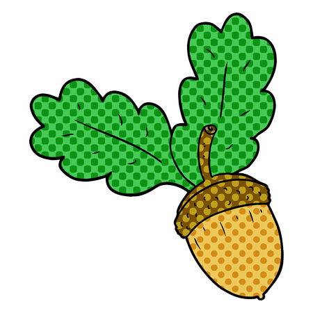 Cartoon acorn illustration on white background. Ilustração
