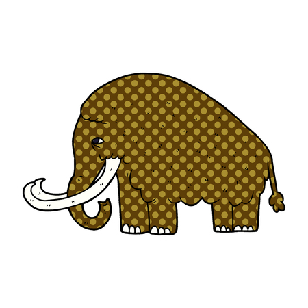 Cartoon mammoth illustration on white background. Illusztráció