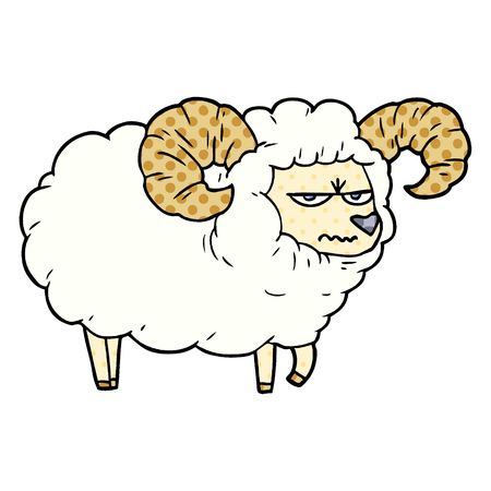 Cartoon angry ram illustration on white background.