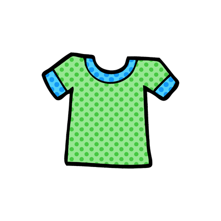 Cartoon tee shirt illustration on white background.