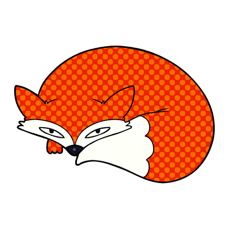 Cartoon curled up fox illustration on white background.