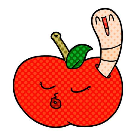 cartoon worm in apple Illustration
