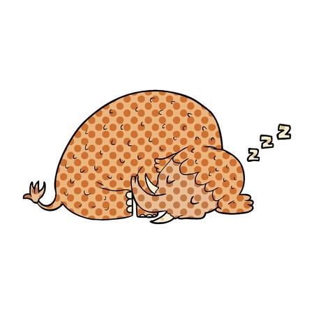 Cartoon Mammut schlafen Standard-Bild - 95638676