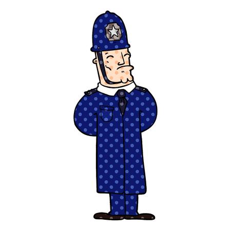 Cartoon policeman illustration on white background.