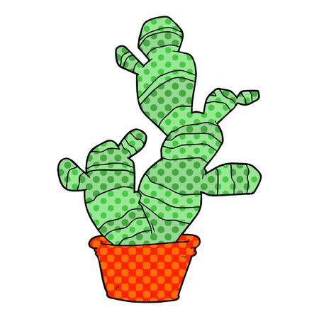 Cartoon cactus illustration on white background.