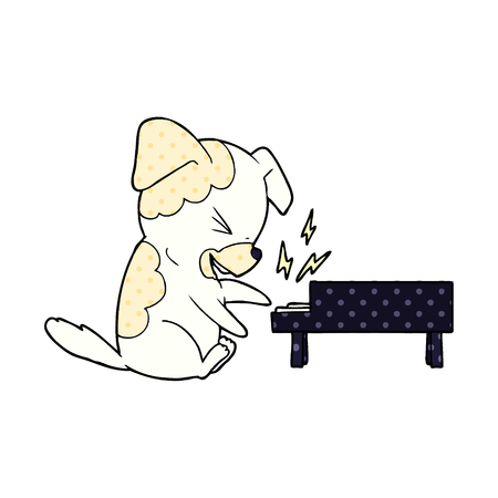 Cartoon dog rocking out on piano illustration on white background.