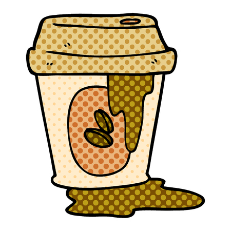 messy coffee cup cartoon