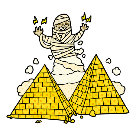 cartoon mummy and pyramids Çizim