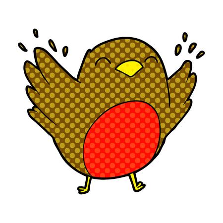 cartoon robin flapping wings Stock Illustratie