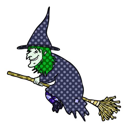 cartoon witch on broom Zdjęcie Seryjne - 95639071