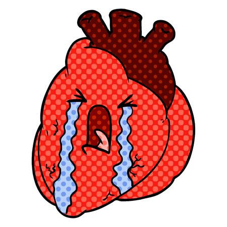 cartoon heart crying Illustration