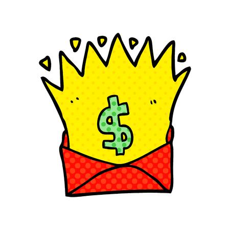 お金のサインと漫画の封筒
