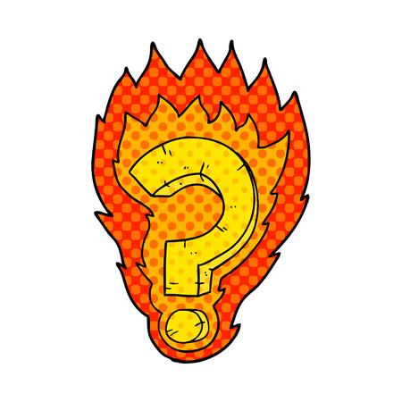 cartoon flaming question mark Ilustração