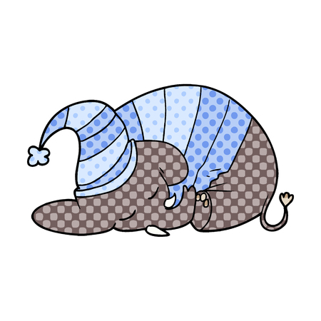 cartoon sleeping elephant in pajamas
