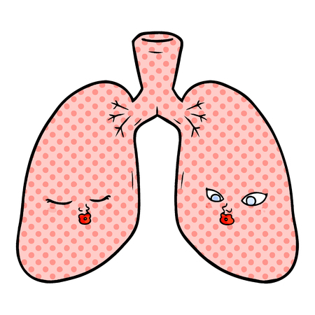 cartoon lungs illustration design 일러스트