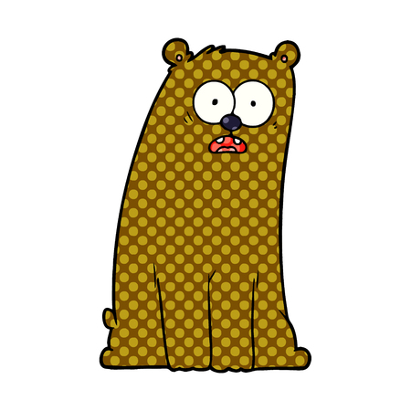 A cartoon surprised bear