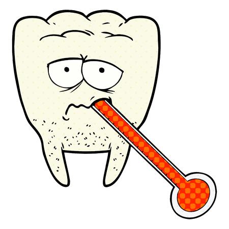 Een cartoon ongezonde tand