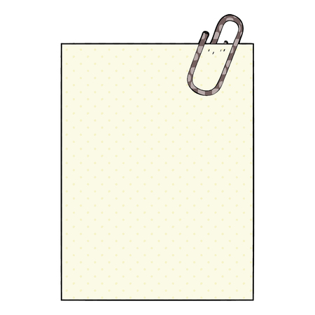 A cartoon paper with paperclip Иллюстрация