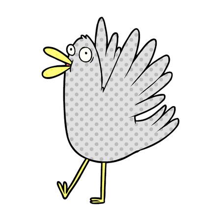 A cartoon bird squawking