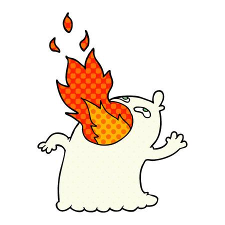 A cartoon fire breathing ghost