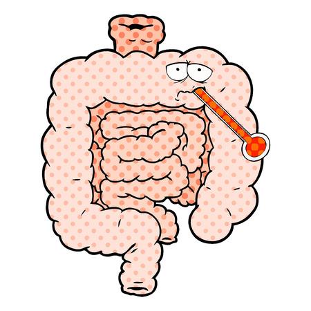 A cartoon unhealthy intestines
