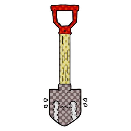 cartoon crying shovel Ilustrace