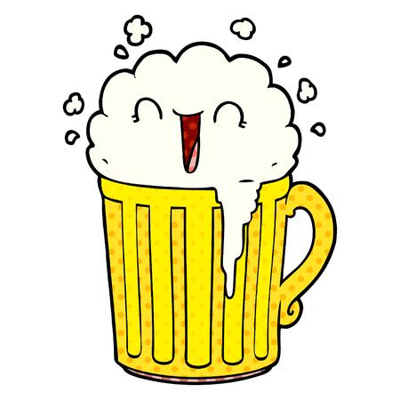 happy cartoon mug of beer Stock Vector - 95639445